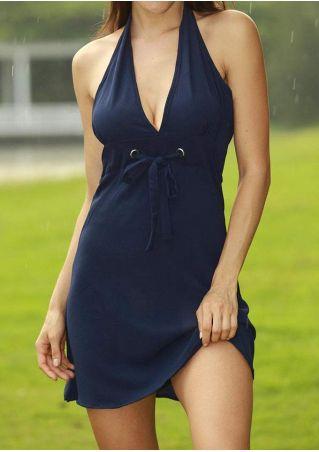 Solid Halter Drawstring Mini Dress