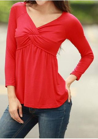 Solid Ruched Three Quarter Sleeve Blouse