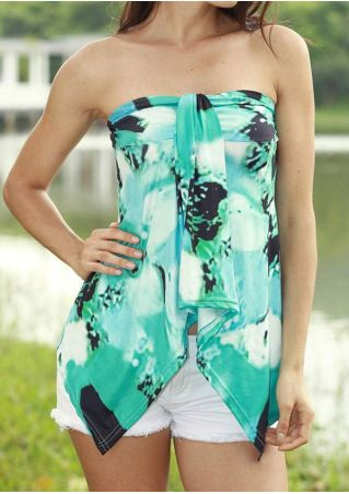 Printed Asymmetric Strapless Backless Tank