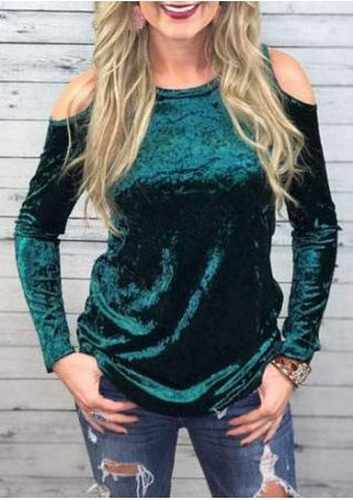 Solid Cold Shoulder O-Neck Blouse