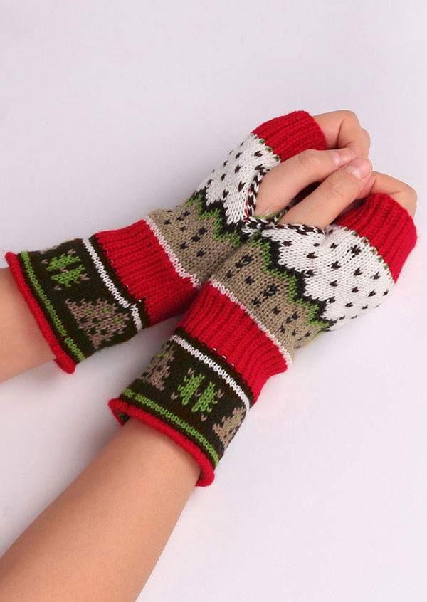 Print Fingerless Gloves 172110