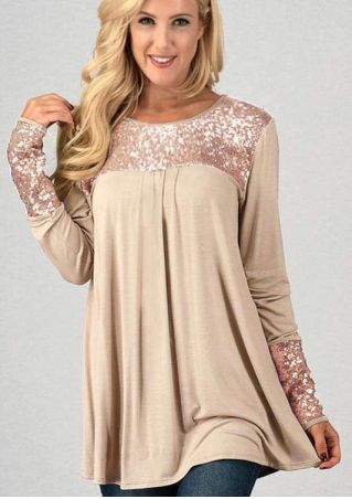 Sequined Splicing Long Sleeve Blouse