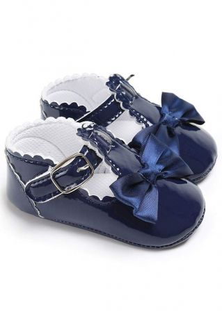Baby Solid Bowknot Anti Slip Walker Shoes