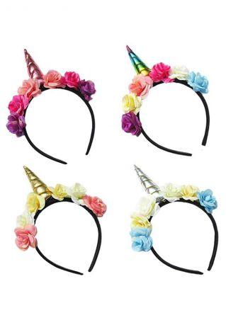 Children Unicorn Horn Flower Headband