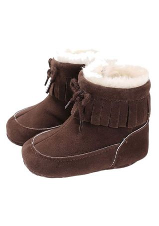Baby Solid Tie Comfortable Boots