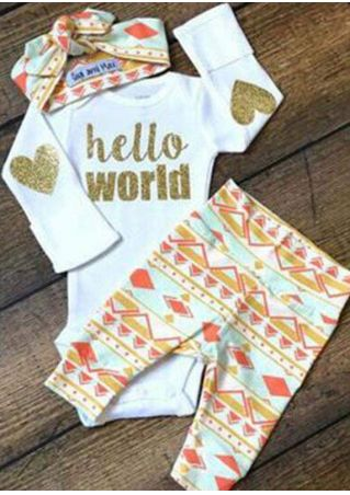 Children Hello World Heart Geometric Clothing Set