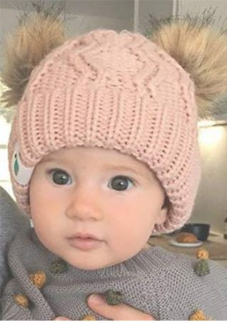 Baby Knitted Double Warm Headgear Hat Beanie Cap