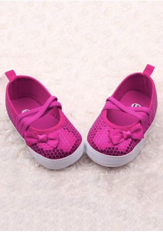 Baby Sequined Bowknot PU Antiskid Shoes