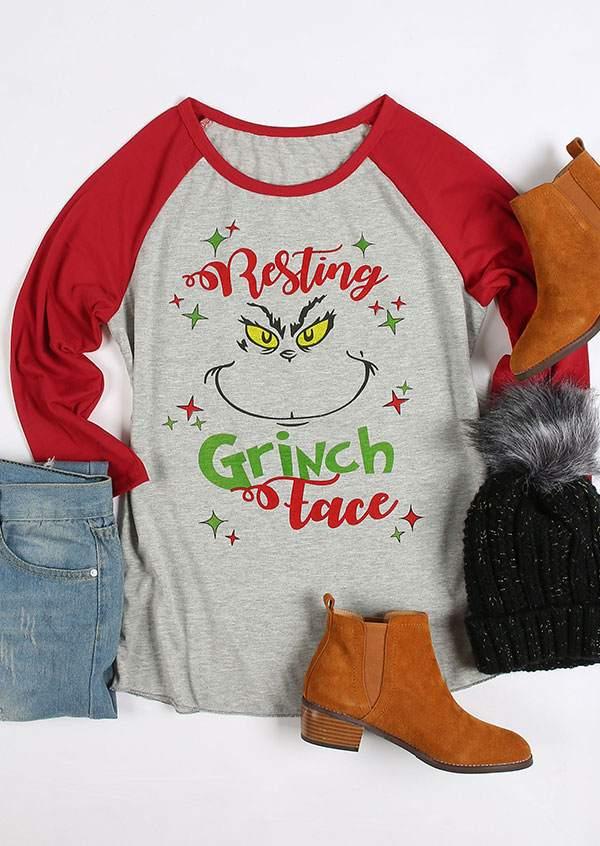 Resting Grinch Face Baseball T Shirt Bellelily