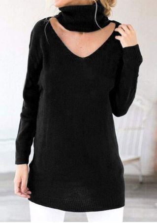 Solid Turtleneck Long Sleeve Sweatshirt