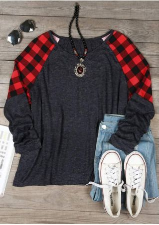 Plus Size Plaid Splicing O-Neck Baseball T-Shirt