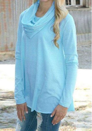 Solid Cowl Neck Long Sleeve Blouse