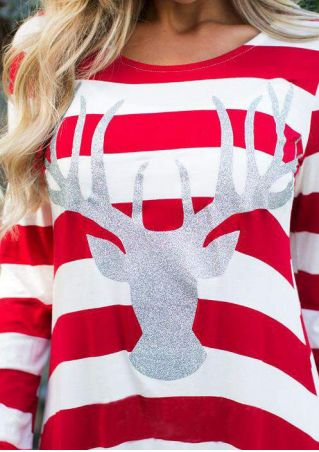 Christmas Reindeer Striped O-Neck Blouse