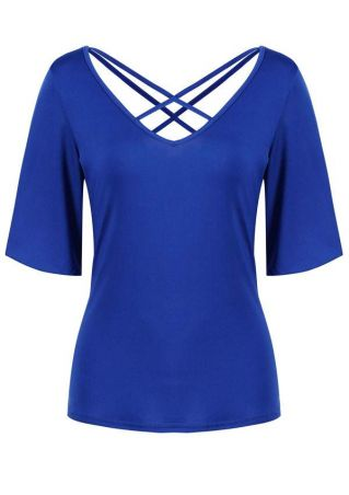 Solid Criss-Cross Flare Sleeve Blouse