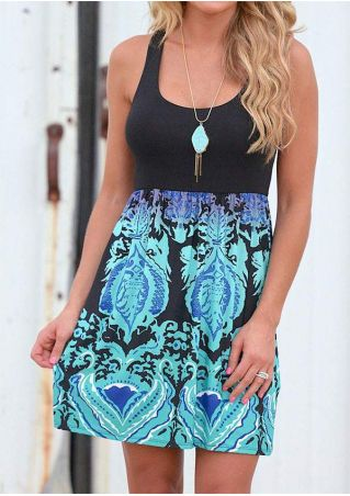 Printed Sleeveless Mini Dress without Necklace