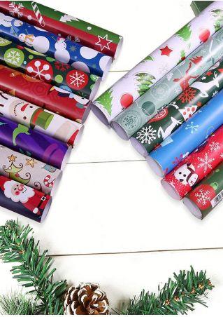 Christmas Snowman Santa Gift Wrapping Paper