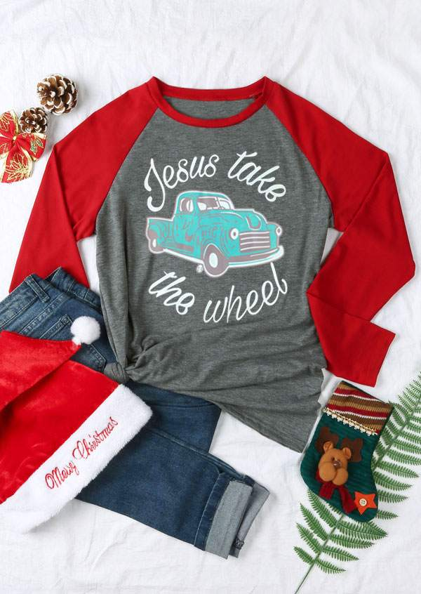 7c802309d Jesus Take The Wheel Baseball T-Shirt - Bellelily