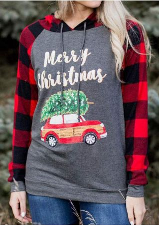 Merry Christmas Plaid Splicing Hoodie