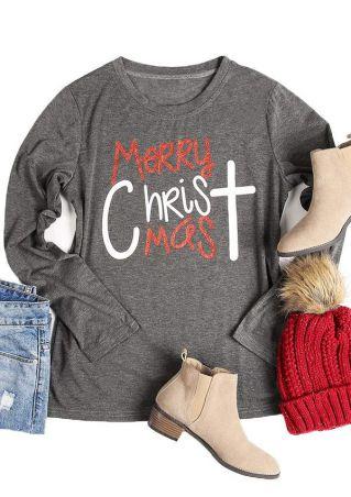 Merry Christmas Cross O-Neck T-Shirt