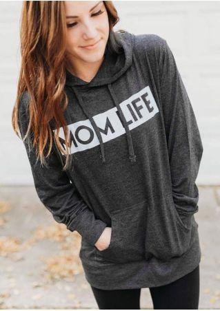 Mom Life Pocket Long Sleeve Hoodie