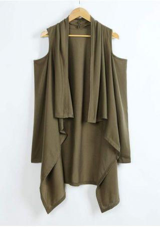 Solid Cold Shoulder Asymmetric Cardigan