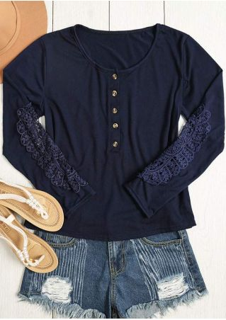 Solid Lace Floral Button T-Shirt