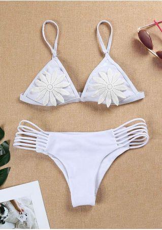 Solid Flower Bikini Set
