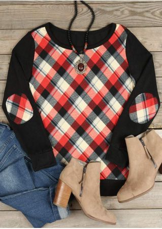 Plaid Splicing Elbow Patch T-Shirt