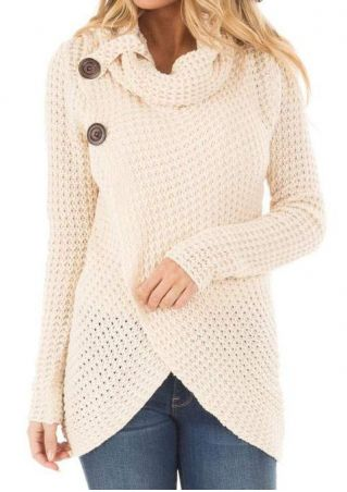 Solid Asymmetric Button Long Sleeve Sweater
