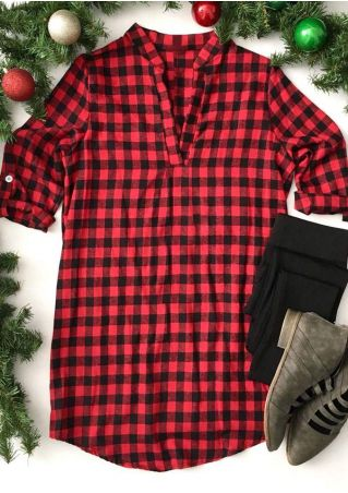 Plaid Tab-Sleeve V-Neck Blouse