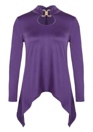 Solid Hollow Out Asymmetric Blouse