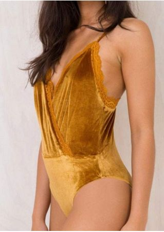 Solid Lace Splicing Wrap Bodysuit