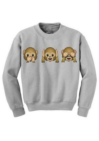 Three Monkeys Printed Casual Sweatshirt