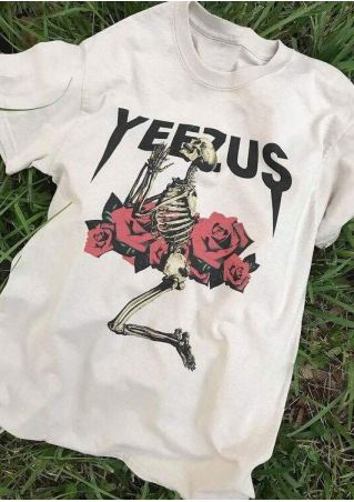 Yeezus Skeleton Floral O-Neck T-Shirt