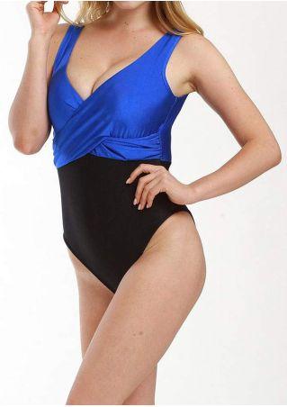 Color Block Wrap Sexy Swimsuit
