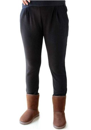 Solid Pocket Warm Maternity Pants