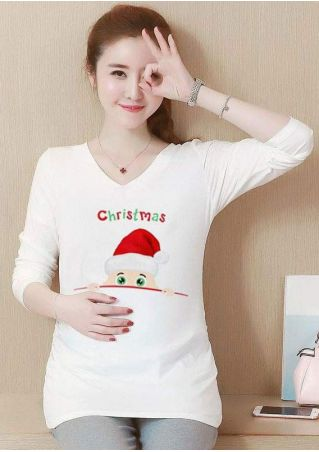 Christmas Baby Santa Hat Maternity T-Shirt without Necklace