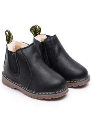 Girls Splicing Zipper Round Toe Warm Boots