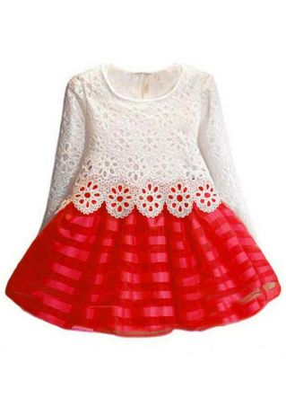 Girls Lace Floral Splicing O-Neck Dress