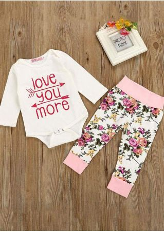 Baby Love You More Arrow Floral Bodysuit and Pants Set