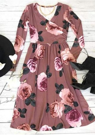 Floral Wrap Ruffled V-Neck Casual Dress
