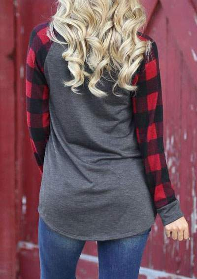 Plaid O-Neck T-Shirt