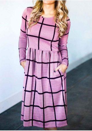 Plaid Long Sleeve Casual Dress