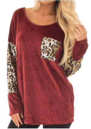 Leopard Printed Sequined Pocket Blouse