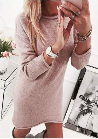 Solid Knitted O-Neck Mini Dress