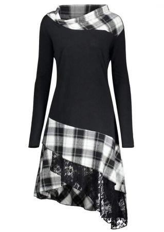Plus Size Plaid Lace Splicing Casual Dress