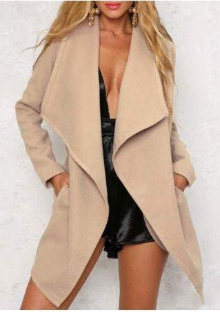 Solid Pocket Long Sleeve Coat with Belt