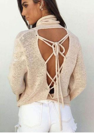 Solid Knitted Lace Up Backless Blouse