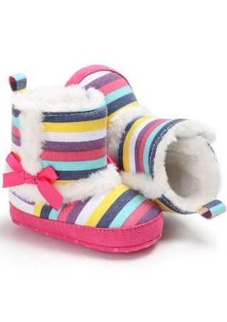 Baby Multicolor Bowknot Splicing Boots
