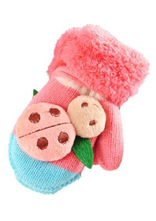Kids Ladybird Knitted Warm Gloves